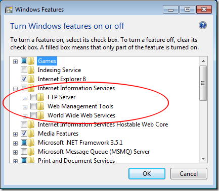 Turn on Internet Information Services in Windows 7