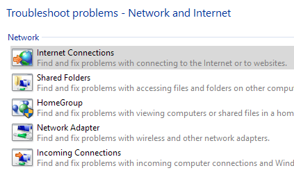 internet connections troubleshoot